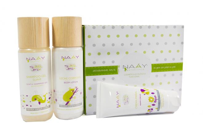 Gel champú, leche corporal y crema de pañal para bebés de piel sensible o piel atópica de Naay Botanicals