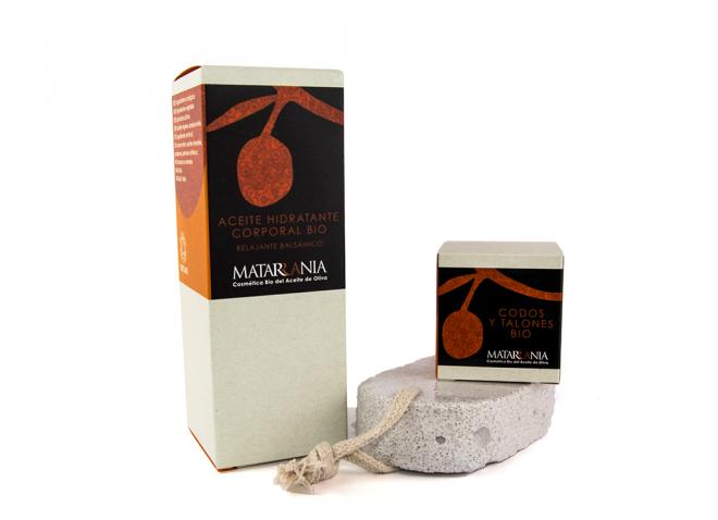 Pack piernas cansadas 100% Bio con aceite relajante, crema de codos y talones y piedra pómez de Matarrania
