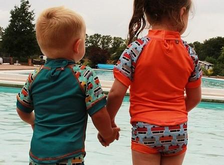 Bañador pañal antifugas bebé y camiseta anti UV protección solar Pop-in