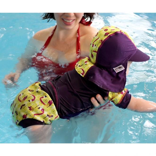 Bañador antifugas bebe, camiseta anti UV y gorra solar Flamingo